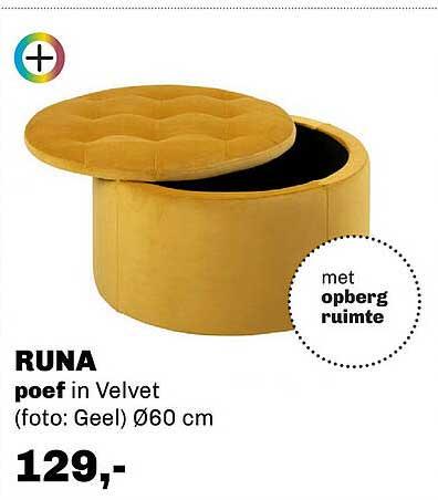 Trendhopper Runa Poef In Velvet Ø60 Cm