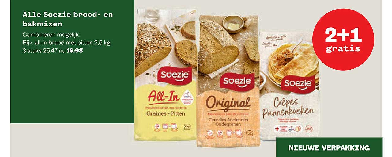 Welkoop Alle Soezie Brood- En Bakmixen 2+1 Gratis