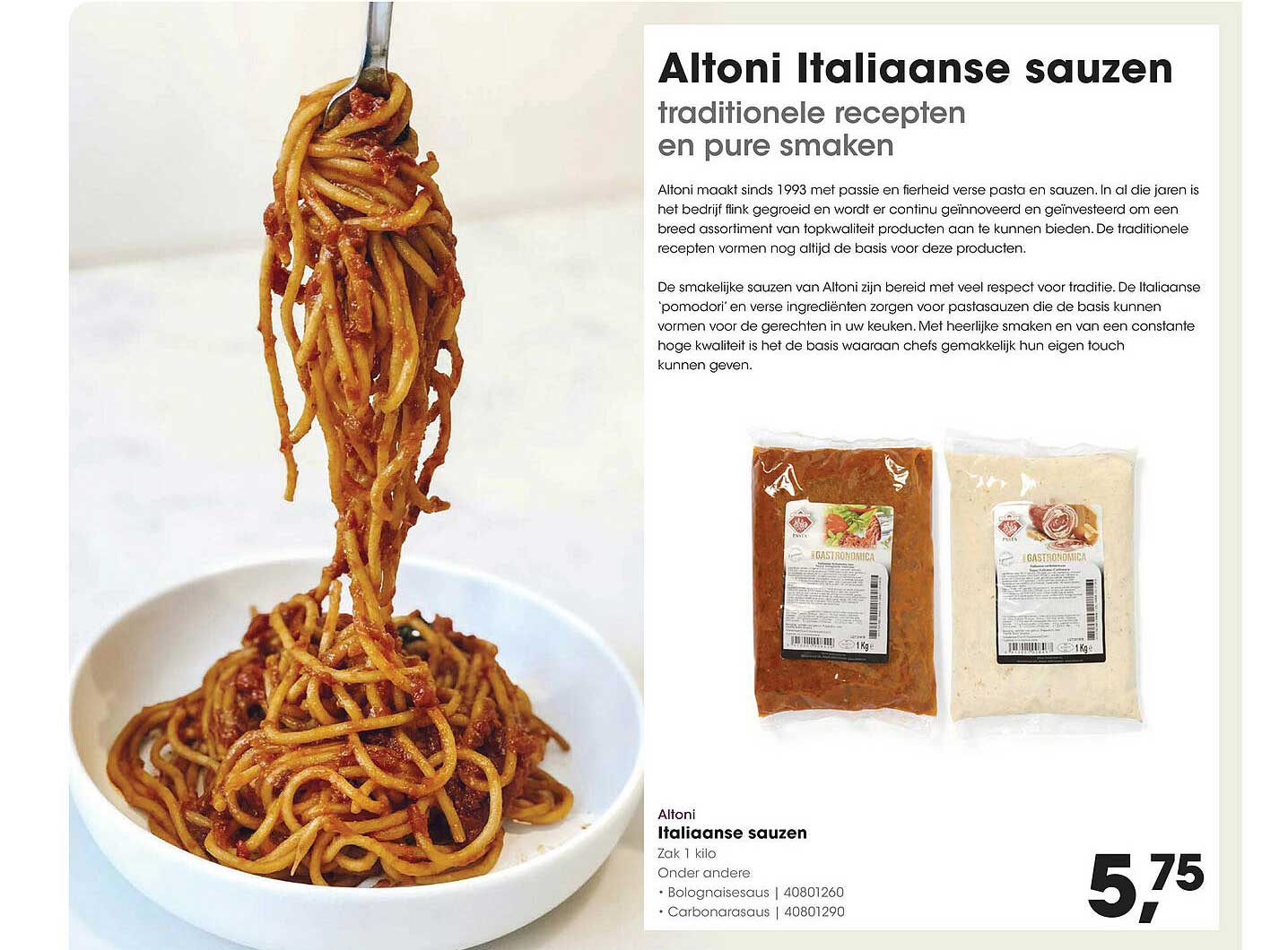 HANOS Altoni Italiaanse Sauzen Bolognaisesaus Of Carbonarasaus