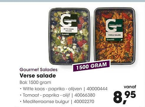 HANOS Gourmet Salades Verse Salade Witte Kaas - Paparika - Olijven, Tomaat - Paprika - Olijf Of Mediterraanse Bulgur