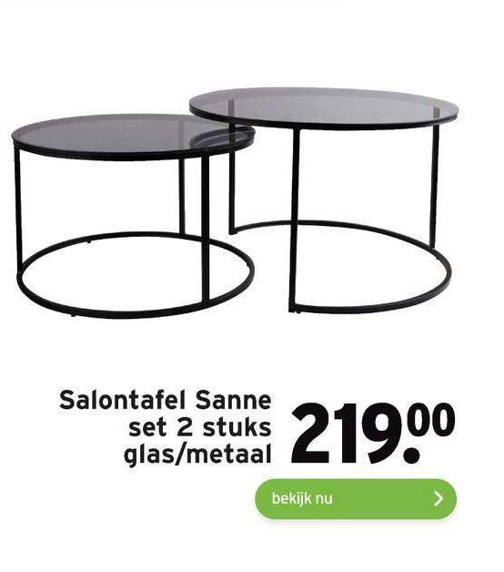 Gamma Salontafel Sanne Set 2 Stuks Glas-Metaal