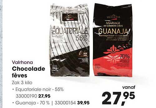 HANOS Valrhona Chocolade Fèves Equatoriale Noir - 55% Of Guanaja- 70%