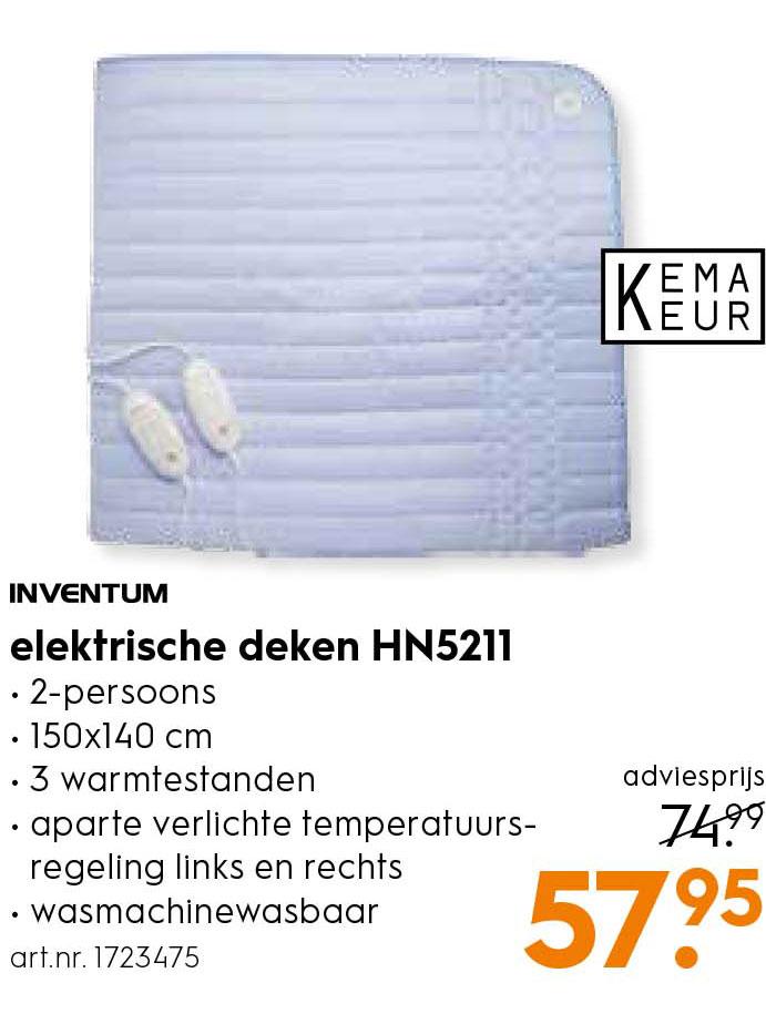 Inventum Elektrische Deken Hn5211 Aanbieding Bij Blokker