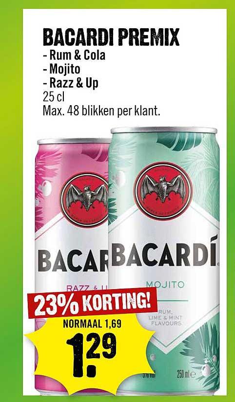 Dirck III Bacardi Premix Rum & Cola, Mojito Of Razz & Up 23% Korting