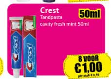 Datum Voordeelshop Crest Tandpasta Cavity Fresh Mint 50ml