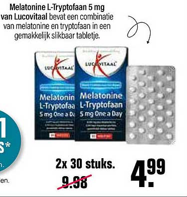 De Online Drogist Lucovitaal Melatonine L-Tryptofaan 5 Mg One A Day