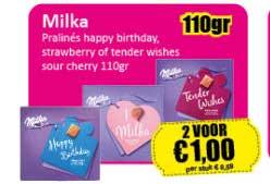Datum Voordeelshop Milka Pralinés Happy Birthday, Strawberry Of Tenders Wishes Sour Cherry 110gr