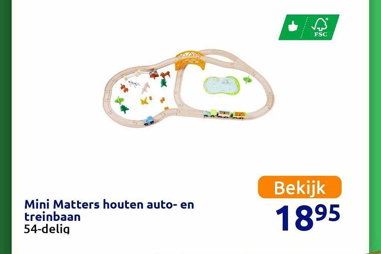 Action Mini Matters Houten Auto- En Treinbaan