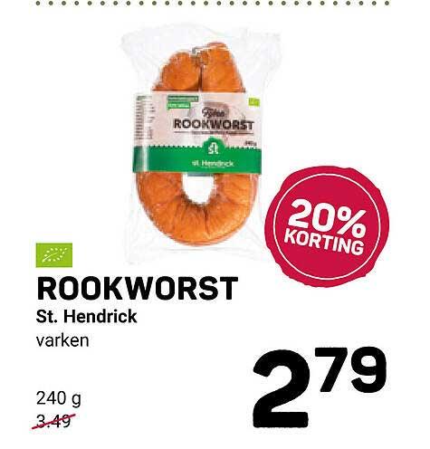Ekoplaza Rookworst St. Hendrick 20% Korting