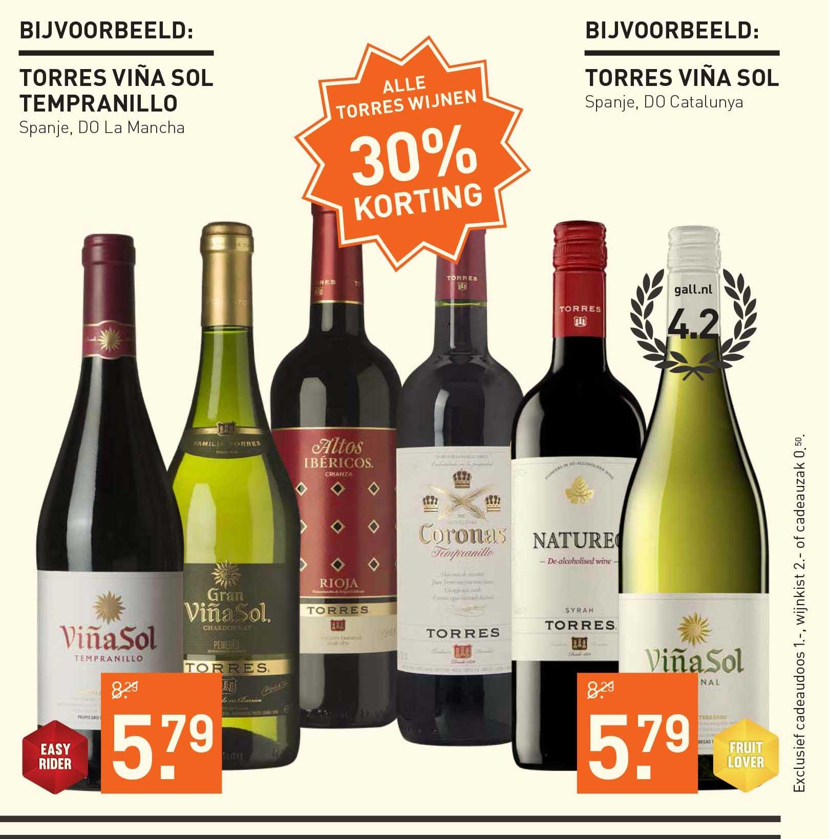Gall & Gall Alle Torres Wijnen: 30% Korting
