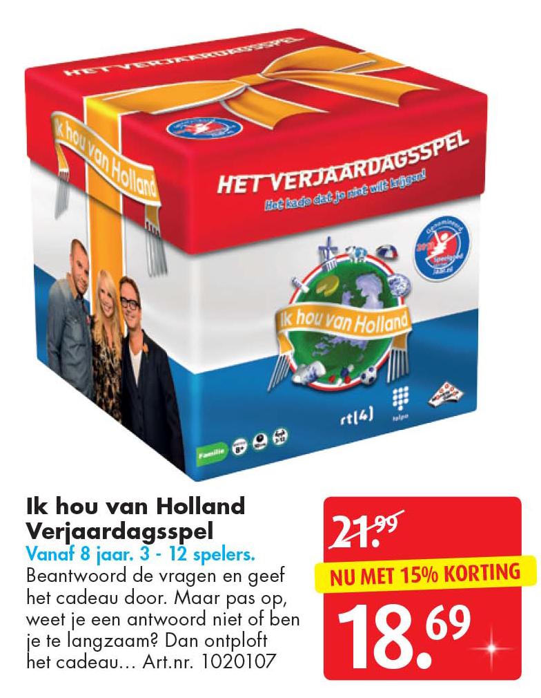 Bart Smit Ik Hou Van Holland Verjaardagsspel: Nu Met 15% Korting