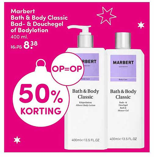 DA Marbert Bath & Body Classic Bad & Douchegel Of Bodylotion: 50% Korting