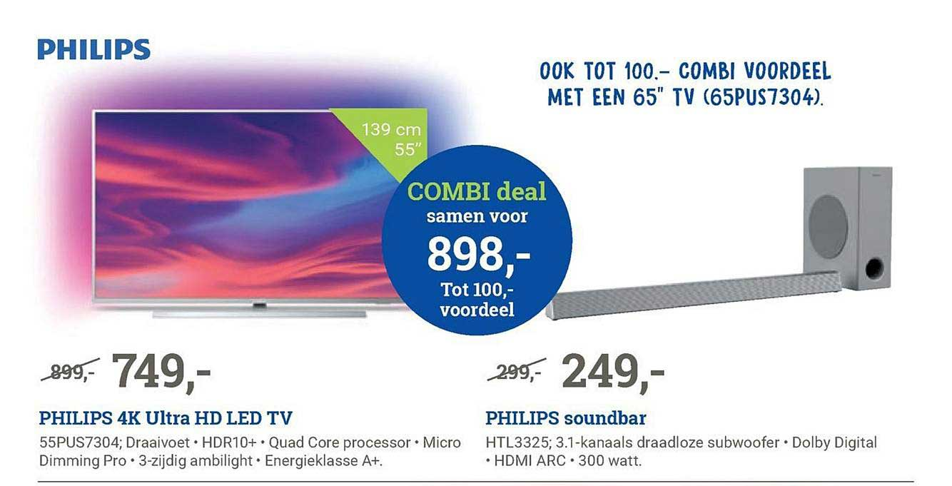BCC Philips 4k Ultra Hd Led Tv En Philips Soundbar Combi Deal