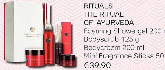 Pour Vous Rituals The Ritual Of Ayurveda : Foaming Showergel, Bodyscrub, Bodycream Of Mini Fragrance Sticks
