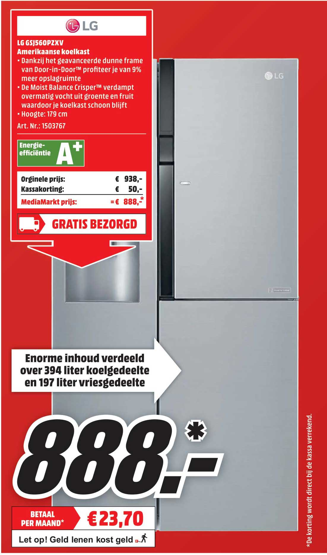 Mediamarkt LG GSJ560PZXV Amerikaanse Koelkast