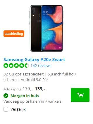 Coolblue Samsung Galaxy A20e Zwart