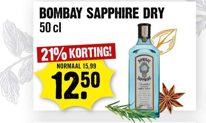 Dirck III Bombay Sapphire Dry 21% Korting