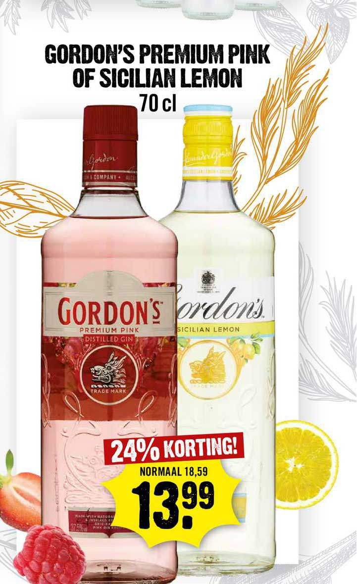 Dirck III Gordon's Premium Pink Of Sicilian Lemon 24% Korting