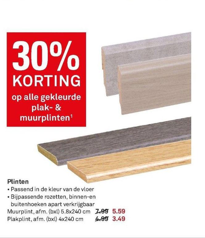 Karwei 30% Korting Op Alle Gekleurde Plak & Muurplinten