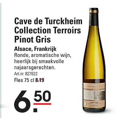 Sligro Cave De Turckheim Collection Terroirs Pinot Alsace, Frankrijk