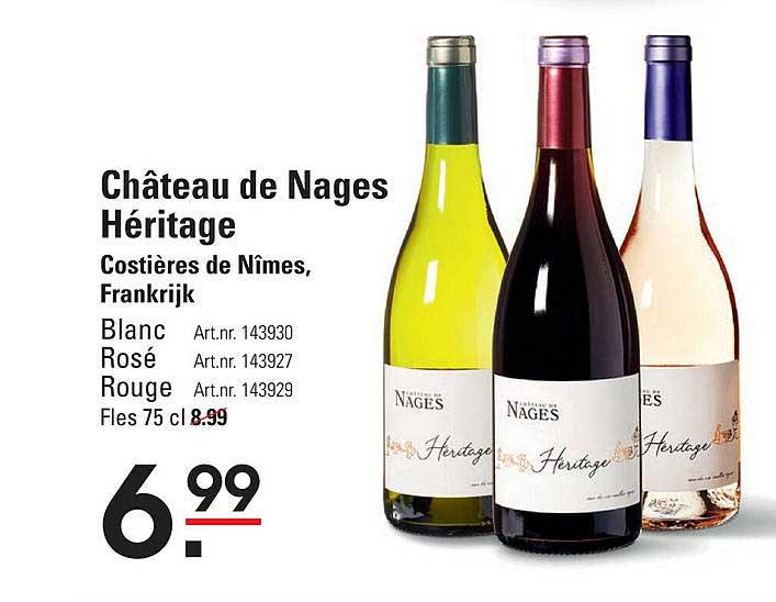 Sligro Château De Nages Héritage Blanc, Rosé Of Rouge Costières De Nîmes, Frankrijk
