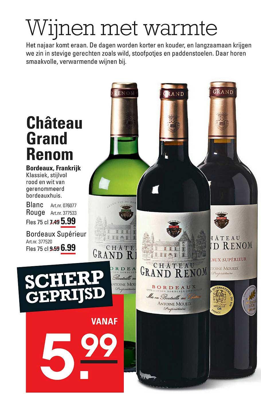 Sligro Château Grand Renom Blanc, Rouge Of Bordeaux Supérieur Bordeaux, Frankrijk