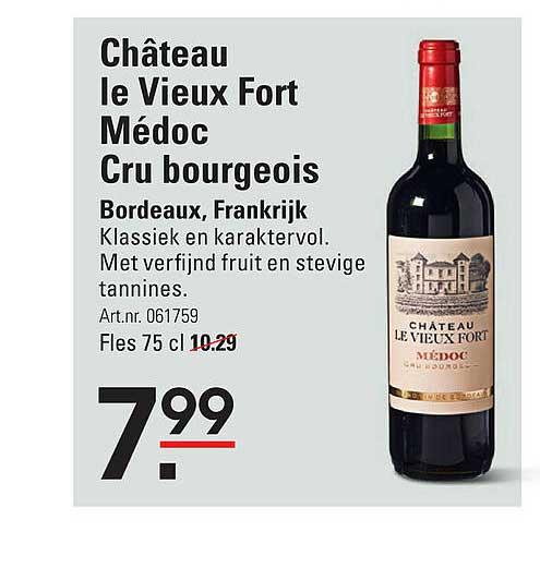 Sligro Château Le Vieux Fort Médoc Cru Bourgeois Bordeaux, Frankrijk
