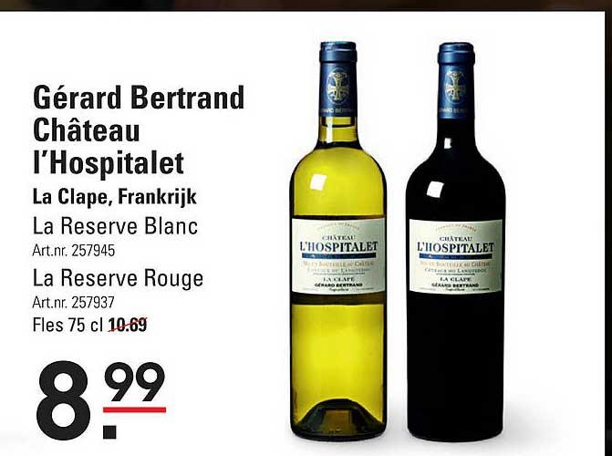 Sligro Gérard Bertrand Château L'Hospitalet La Reserve Blanc Of La Resever Rouge La Clape, Frankrijk