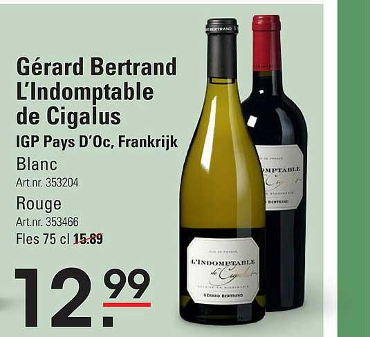 Sligro Gérard Bertrand L'Indomptable De Cigalus Blanc Of Rouge IGP Pays D'Oc, Frankrijk