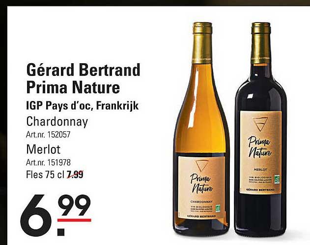 Sligro Gérard Bertrand Prima Nature Chardonnay Of Merlot IGP Pays D'Oc, Frankrijk