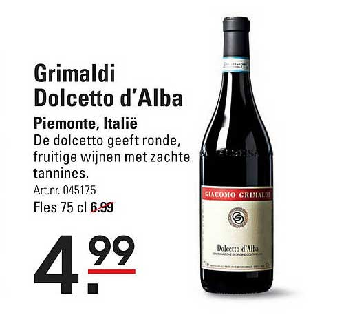 Sligro Grimaldi Dolcetto D'Alba Piemonte, Italië
