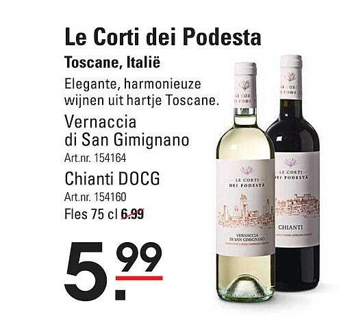 Sligro Le Corti Dei Podesta Vernaccia Di San Gimignano Of Chianti DOCG Toscane, Italië
