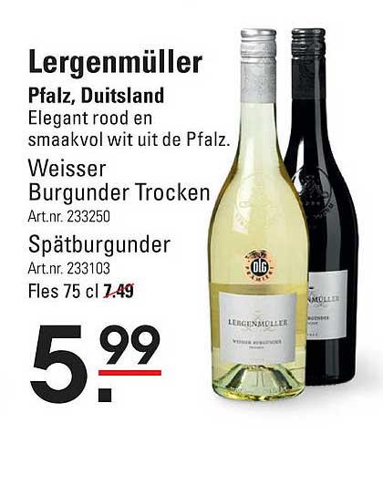 Sligro Lergenmüller Weisser Burgunder Trocken Of Spätburgunder Pfalz, Duitsland