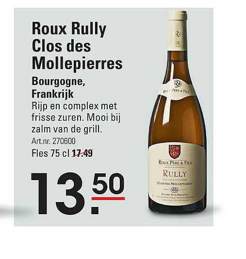 Sligro Roux Rully Clos Des Mollepierres Bourgogne, Frankrijk