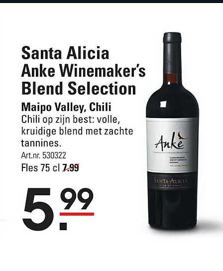 Sligro Santa Alicia Anke Winemaker's Blend Selection Maipo Valley, Chili