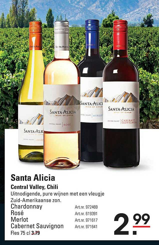 Sligro Santa Alicia Chardonnay, Rosé, Merlot Of Cabernet Sauvignon Central Valley, Chili