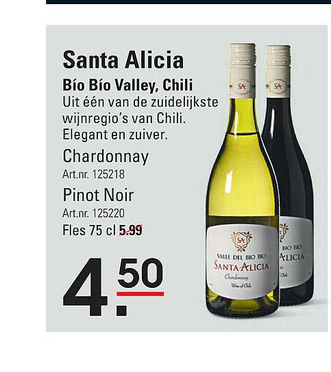Sligro Santa Alicia Chardonnay Of Pinot Noir Bío Bío Valley, Chili