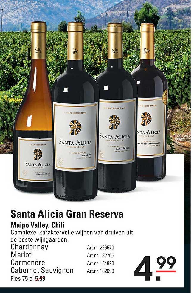 Sligro Santa Alicia Gran Reserva Chardonnay, Merlot, Carmenère Of Cabernet Sauvignon Maipo Valley, Chili