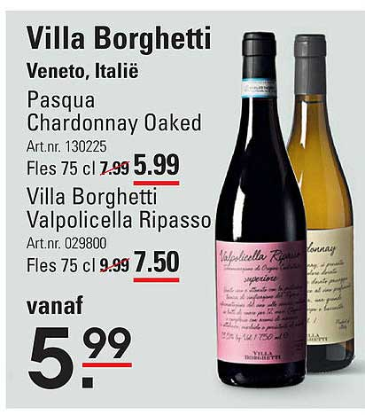 Sligro Villa Borghetti Pasqua Chardonnay Oaked Of Villa Borghetti Valpolicella Ripasso Veneto, Italië