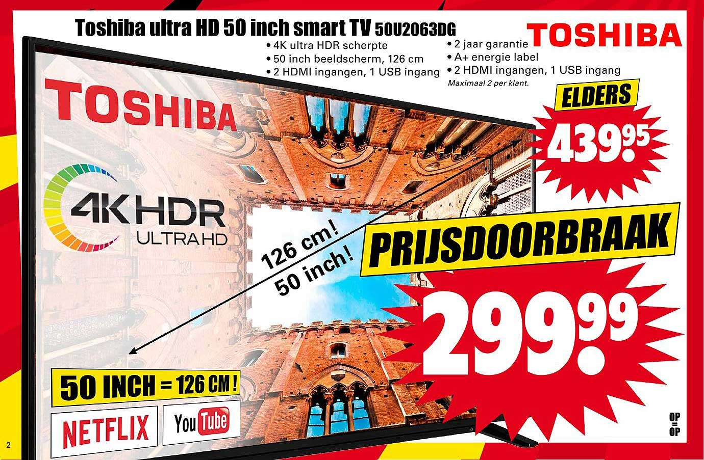 Dirk Toshiba Ultra HD 50 Inch Smart TV 50U2063DG