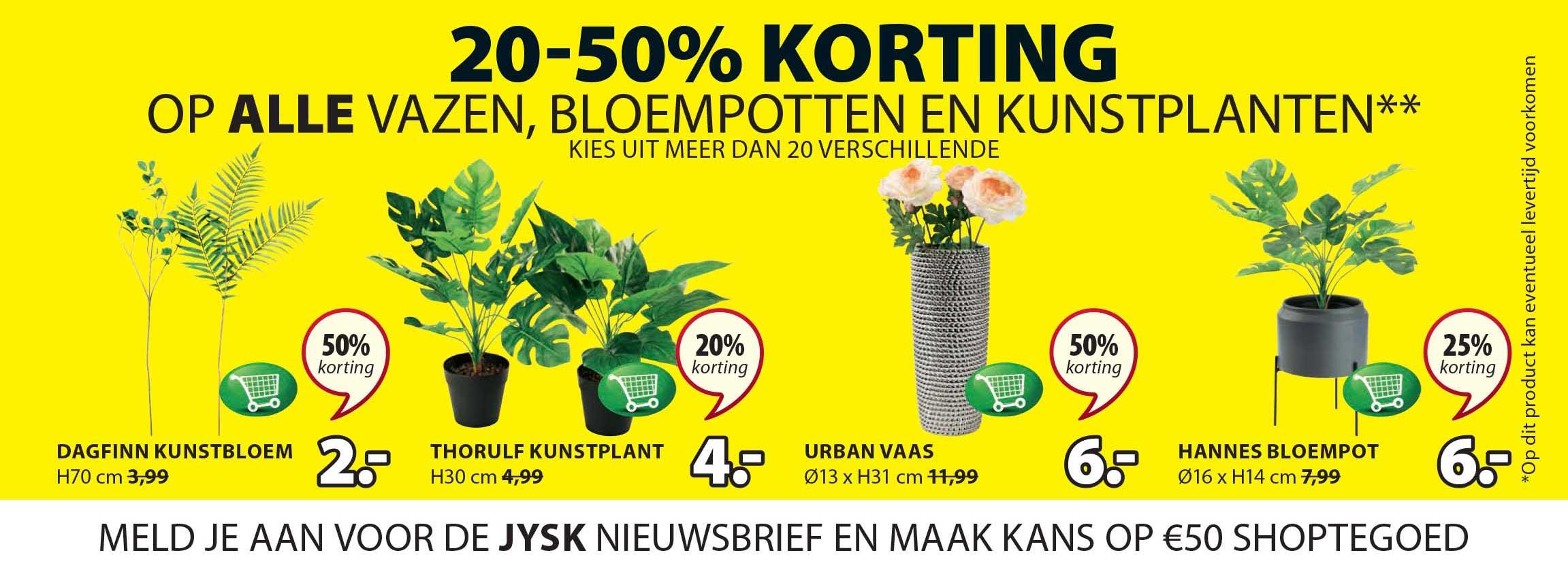 Jysk 20-50% Korting Op Alle Vazen, Bloempotten En Kunstplanten