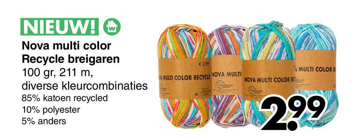 Wibra Nova Multi Color Recycle Breigaren