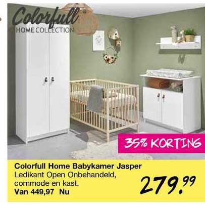 Van Asten Colorfull Home Babykamer Jasper : Ledikant Open Onbehandeld, Commode En Kast