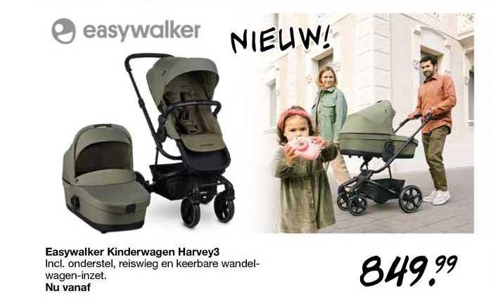 Van Asten Easywalker Kinderwagen Harvey3 Incl. Onderstel, Reiswieg En Keerbare Wandelwagen-Inzet