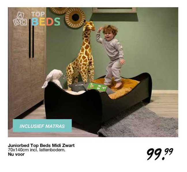 Van Asten Juniorbed Top Beds Midi Zwart 70x140cm