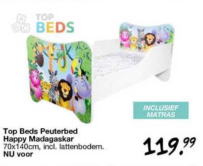 Van Asten Top Bed Peuterbed Happy Madagaskar 70x140cm