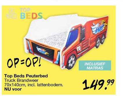 Van Asten Top Beds Peuterbed Truck Brandweer 70x140cm