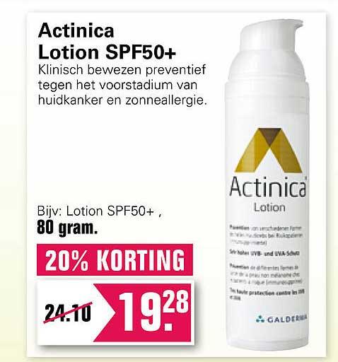 De Online Drogist Actinica Lotion SPF50+ 20% Korting