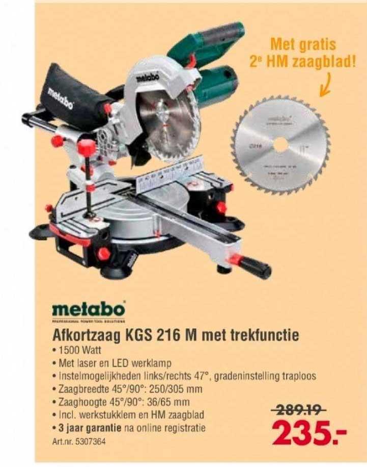 Enorm Metabo Afkortzaag KGS 216 M Met Trekfunctie