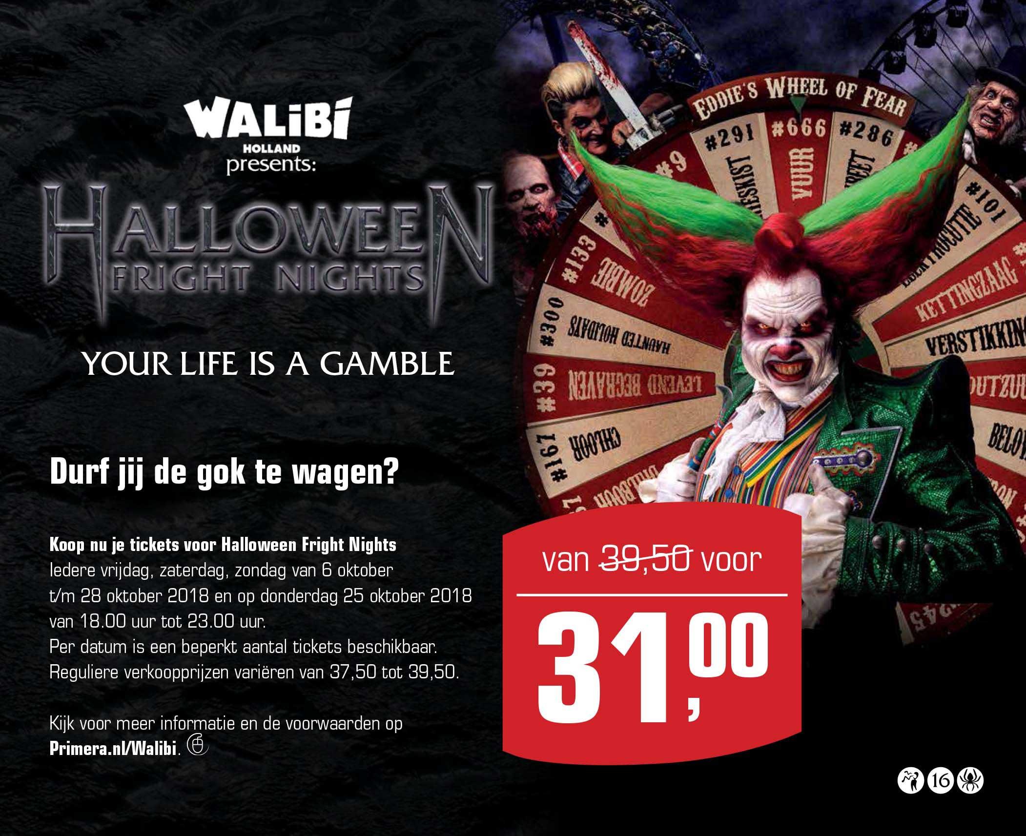 Primera Halloween Fright Nights: €8,50 Korting